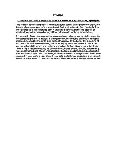 COMPARISON Essay RESPONSE -  She Walks in Beauty & Cozy Apologia - 9-1 EDUQAS GCSE ENG LIT NEW SPEC