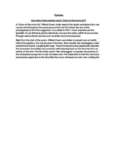 DULCE ET DECORUM EST Wilfred Owen Essay RESPONSE- 9-1 EDUQAS GCSE ENG LIT NEW SPEC