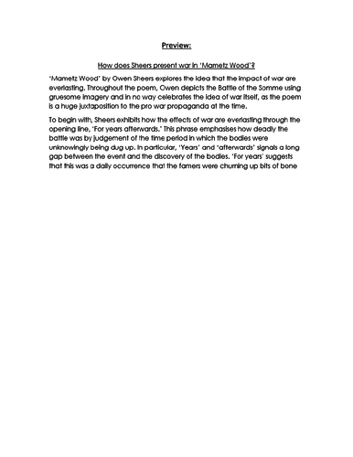 MAMETZ WOOD Owen Sheers  Essay RESPONSE- 9-1 EDUQAS GCSE ENG LIT NEW SPEC
