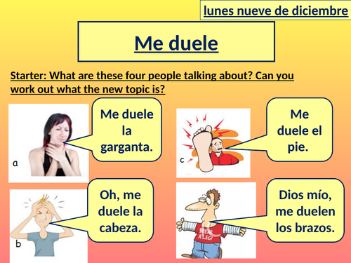 Spanish - What hurts - Me duele - complete lesson