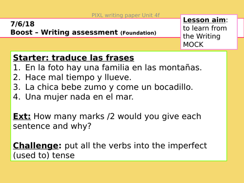 Spanish GCSE - Writing exam F/H sections practice