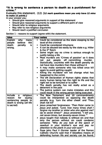 Year 9 Crime and Punishment Essay in Edexcel GCSE 12 mark format