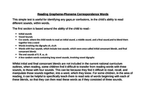 National Curriculum linked Grapheme-Phoneme Reading Test