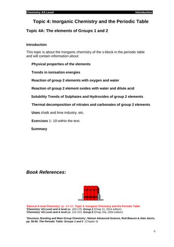 Edexcel Chemistry Topic 4 Inorganic Chemistry And The Periodic