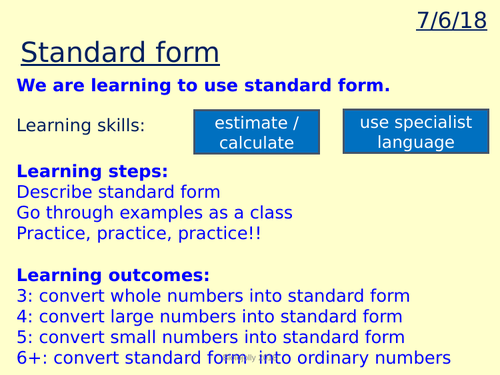 Standard Form And Orders Of Magnitude Lesson By Jtranah Teaching