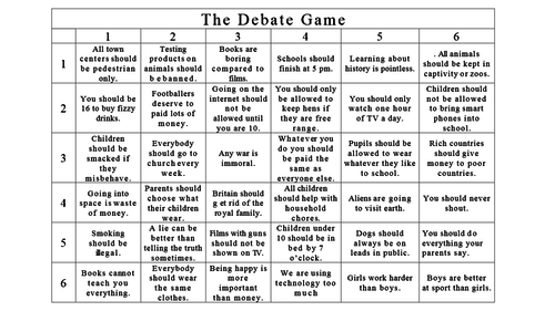 The Debate game - ks3/4 tutor time activity