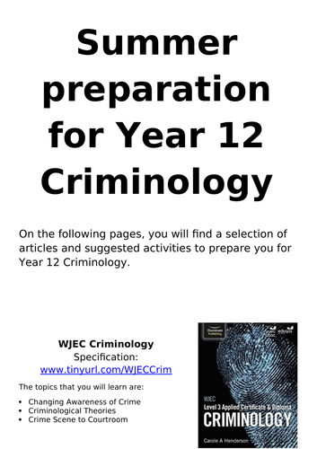 Social Science transition work for Year 11 Year 12 (EPQ, Criminology, Sociology, Psychology, HSC)