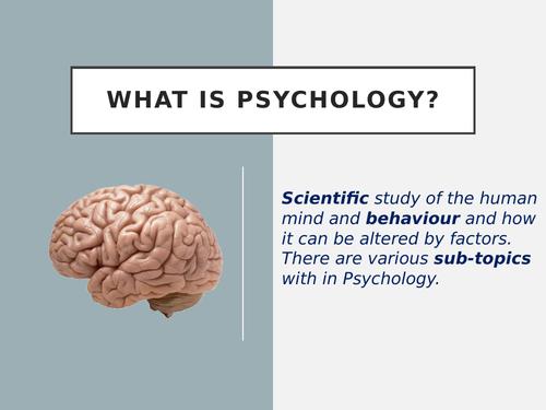 A Level Psychology  taster / Induction lesson & Summer transition / Bridging work