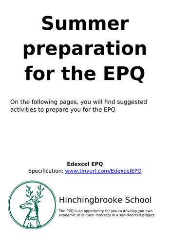 Extended Project Qualification (EPQ) starter pack
