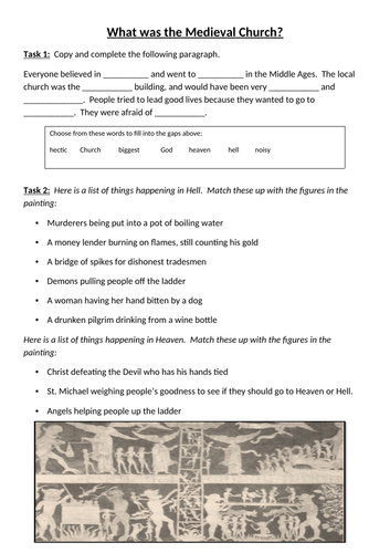 KS3 Medieval Life - Lesson 2 - Medieval Church