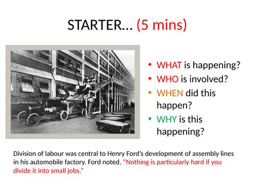 specilisation and division of labour tasks