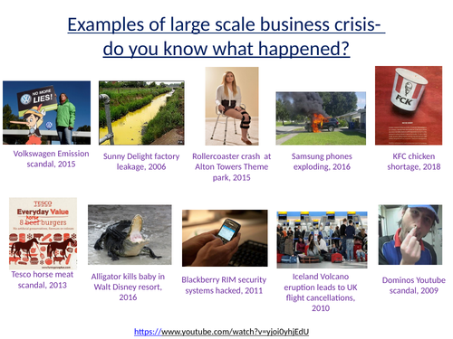 Crisis management examples task