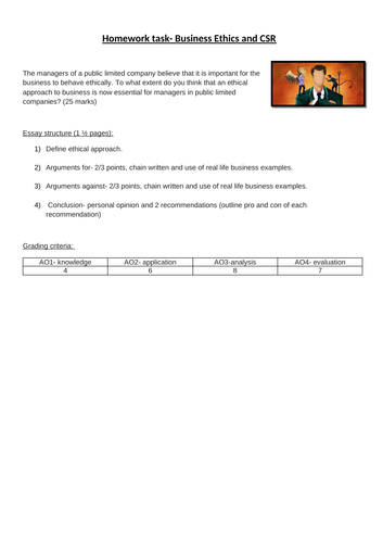 Business Ethics Essay Homework By Nathwari  Teaching Resources  Tes