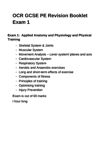 GCSE OCR PE Revision Booklet for Exam 1
