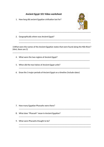 Ancient Egyptian Video Worksheet by kjackson107 | Teaching Resources