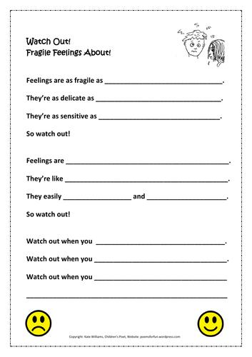 Emotions Poem Frame/Worksheet for Ys 5-8, PSHE; example sheet provided