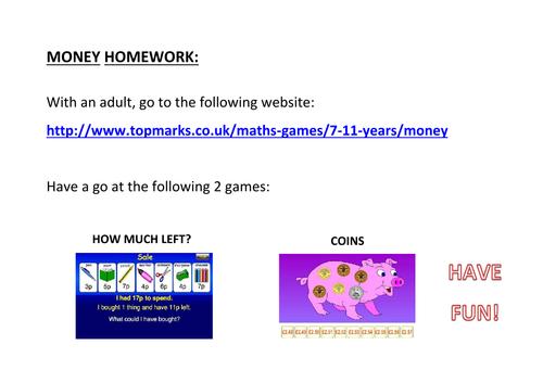 Money: Homework Games (KS1)