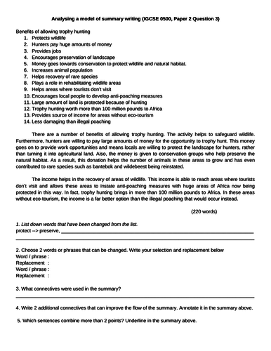 Analysing a model of summary writing (IGCSE 0500, Paper 2 Question 3)