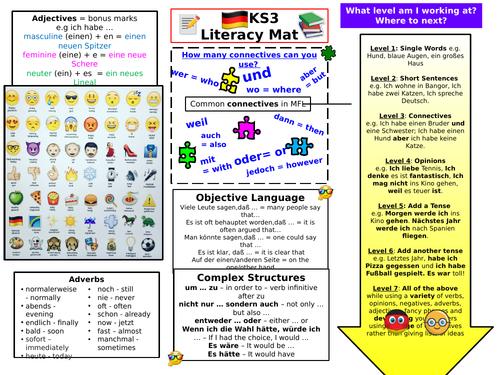 KS3 German literacy mat - grammar, writing improvement