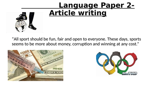 AQA Language Paper 2:B- Article writing- Corruption in sport.