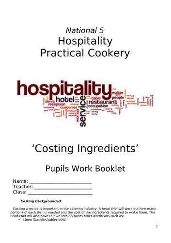National 5, Costing Ingredients  Booklet
