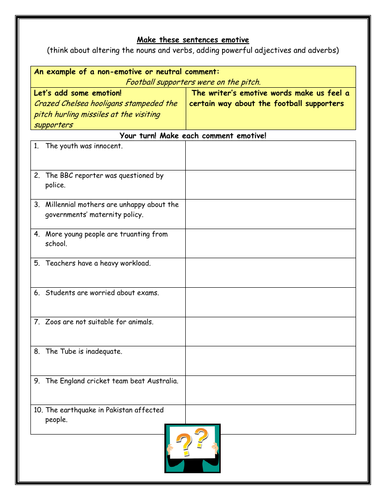 Create Emotive Sentences (persuasive writing) - worksheet