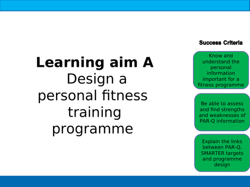 BTEC Sport Unit 5 Personal Information for Training Programme Design