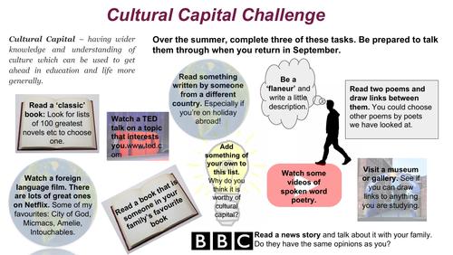 Cultural Capital Challenge: Summer Homework