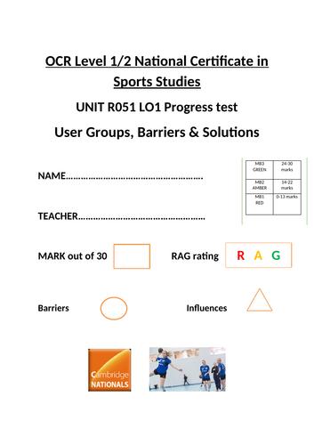 OCR National Certificate in Sports Studies R051 L01 progress test and mark scheme