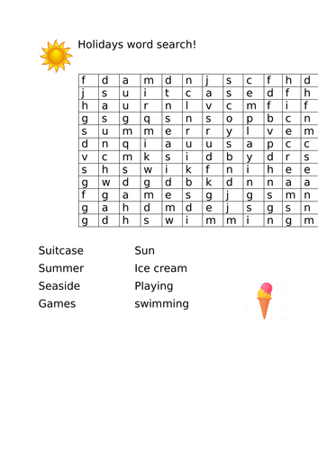 End of term holiday themed wordsearch