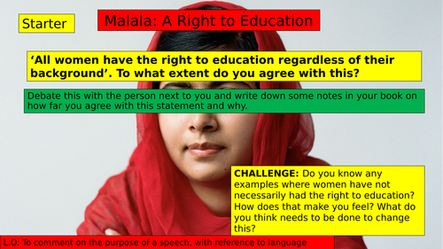 (KS3 7/8/9) Malala's UN Speech