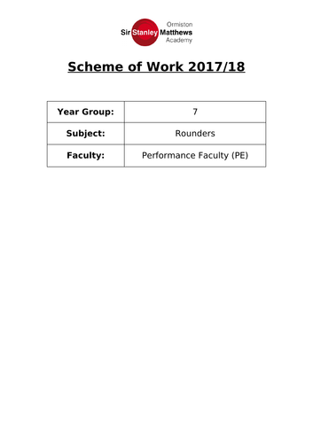 Rounders key stage 3 Scheme of Work