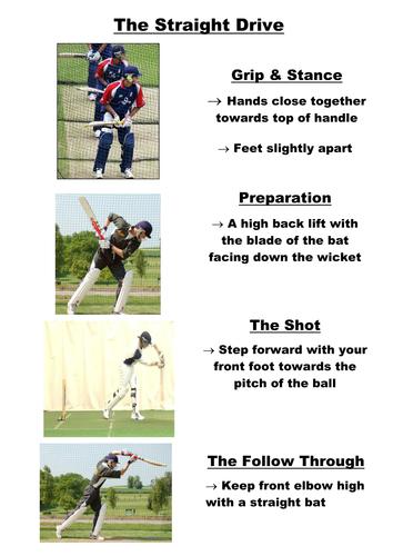 Cricket Straight Drive Teaching Card