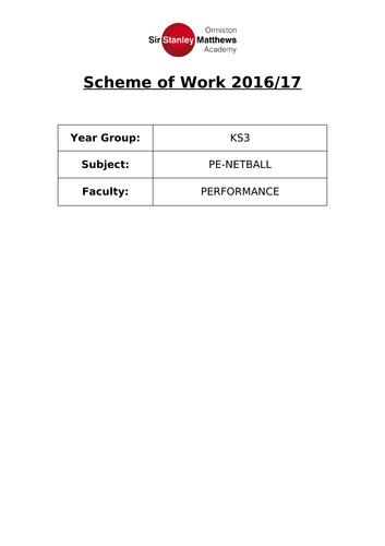 Netball Scheme of Work