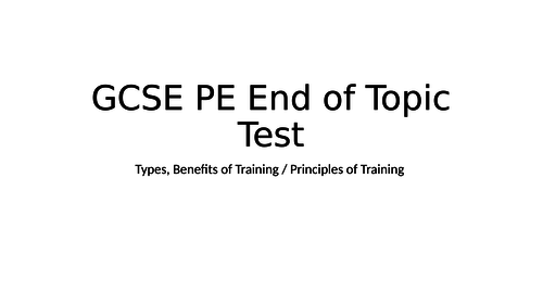 GCSE/BTEC Sport end of topic test