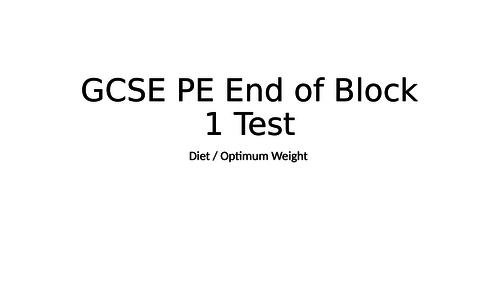 BTEC Sport or GCSE PE Test on nutrition