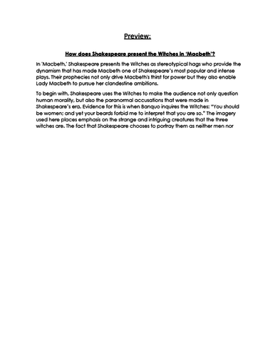 Exemplar Essay On The Witches In Macbeth Gcse  English  Exemplar Essay On The Witches In Macbeth Gcse  English Literature By  Abipathmanathan  Teaching Resources  Tes