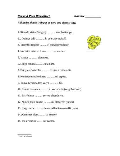 Spanish Por and Para Worksheet: SUB PLAN