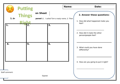 SEND Putting it Right - Conflict Resolution Sheet
