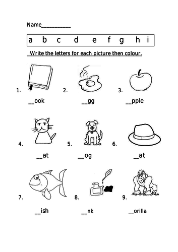Phonics Spelling Worksheet A I By Lilly482 Teaching