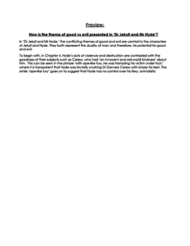 EXEMPLAR ESSAY on the theme of GOOD VS EVIL in 'Dr Jekyll and Mr Hyde' NEW 9-1 GCSE ENG LIT