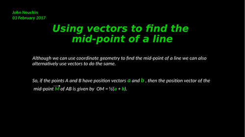Using vectors to find the mid-point of a line