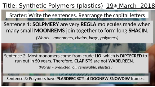 Polymers Introduction, Key Stage 3 Presentation