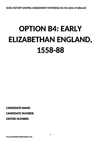 6 Practice Papers for 'Elizabethan England' in the style of Edexcel