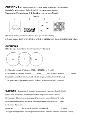 Bonding and Structure Unit Revision, Exam Questions