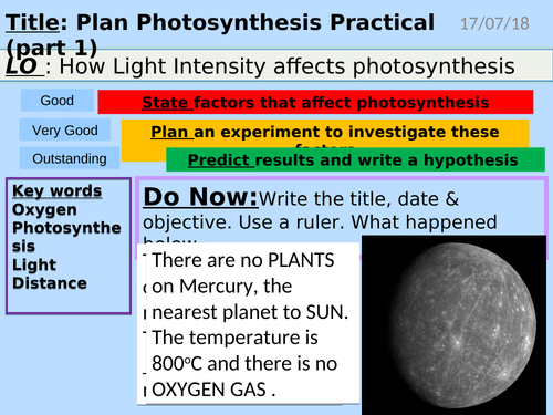 Photosynthesis Practical, Light Intensity (bubbles vs distance)