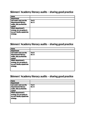 Literacy audit feedback questionnaire