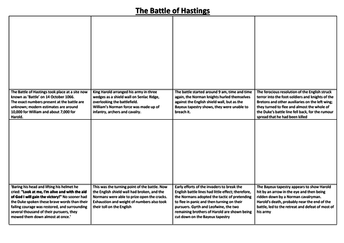 The Battle of Hastings Comic Strip and Storyboard