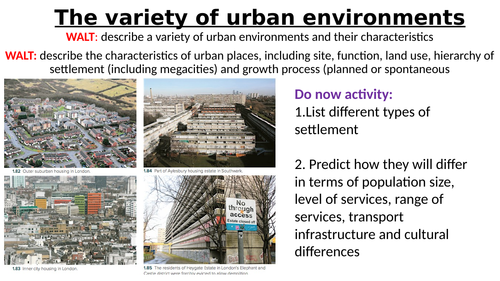 IBDP Geography Option G: Urban environments