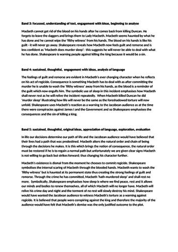 Macbeth - three model paragraphs Band 3, 4, and 5.